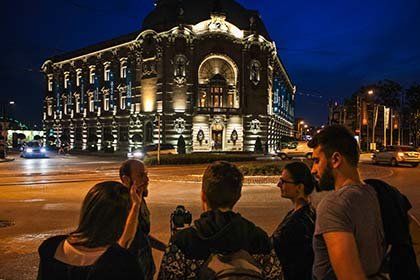 Guests with our host Bogdan during Belgrade Nightlights Photo Tour