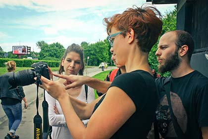 Our guests and our host Bogdan during Yugoslav Urban Legacy Photo Tour